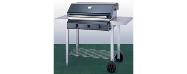 3 Burner Metal Frame Barbeque with Hood