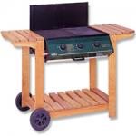 3 Burner Wooden Frame Barbeque with Lid