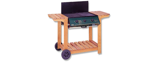 3 Burner Wooden Frame Barbeque with Lid