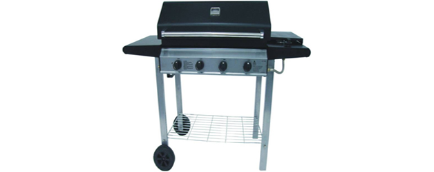 4 Burner Metal Frame Barbeque with Hood and Side Burner