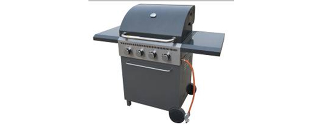4 Burner Metal Frame Barbeque with Hood and Storage